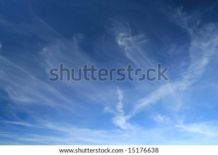 blue sky and cirrus clouds - stock photo