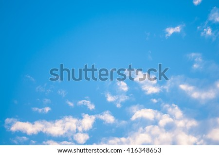 Blue sky and cloud in summer. - stock photo