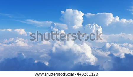 Blue sky and clouds abstract background with copy space panoramic view - stock photo