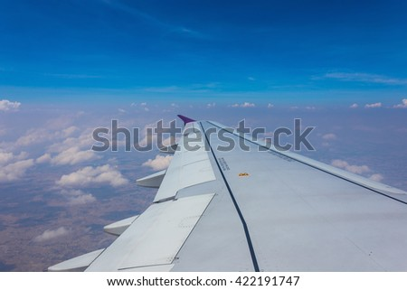 Blue sky and clouds abstract illustration,Sky from plane - stock photo
