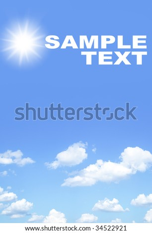 Blue sky and clouds and space for you own text - stock photo