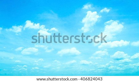 Blue sky and clouds background. Vivid Cerulean Arctic Light View Daylight Clear Spring White Color High Energy Beach Sea Air Vibrant Wind Season Romantic Peace Zen Art Azure Scene Skyline concept. - stock photo