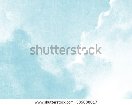 Blue sky and clouds watercolor in soft pale vintage style - stock photo