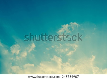blue sky and clouds  with filter effect - stock photo