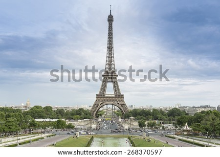 Blue sky and Eiffel Tower view from Trocadero - stock photo
