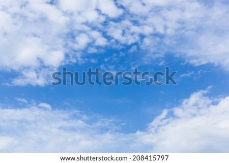 Blue sky and frame from clouds - stock photo