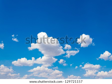 Blue sky and lots small clouds pattern - stock photo