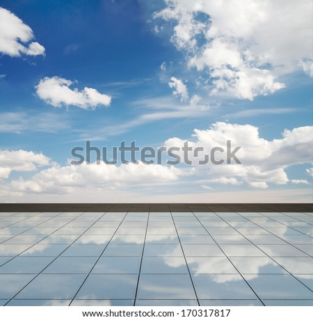 blue sky and mirror floor, cloudy background - stock photo