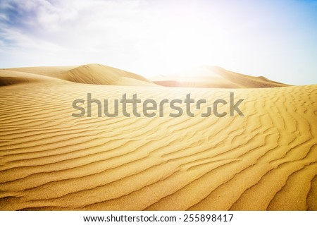 Blue sky and sand dunes. Canary islands, Maspalomas. Spain.  - stock photo