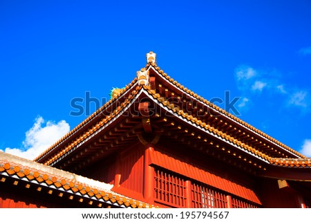 Blue sky and Shuri Castle, Okinawa - stock photo