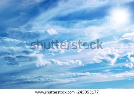 Blue sky and sun - stock photo
