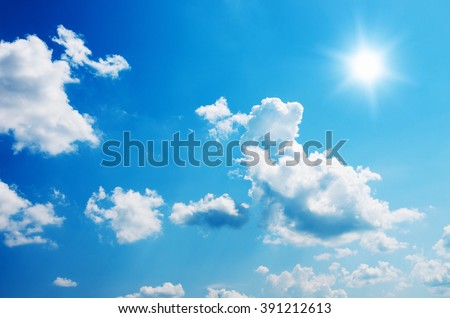 Blue sky and sun. - stock photo