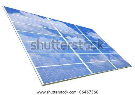 blue sky and white cloud reflection on Solar Panel - stock photo