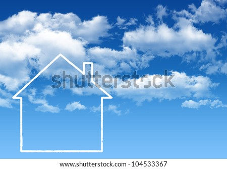 Blue sky and white house - stock photo