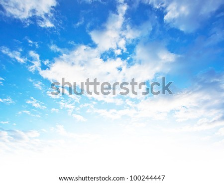 Blue sky background, beautiful abstract natural backdrop, wallpaper with fluffy clouds and bright light, fresh clean clear cloudscape, image of clouds pattern, summer day light - stock photo