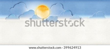Blue sky background, cloudy sky with the shining sun. Digital illustration with watercolor paper imitation background. - stock photo