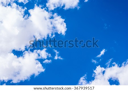 blue sky background with big beautiful white clouds, sunny day photo, fresh air and clean view, bright sky abstract background - stock photo