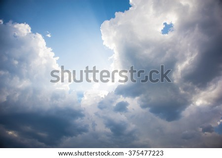 Blue sky background with white clouds and brightly sunshine. Blue clear sky panorama with sun light. - stock photo