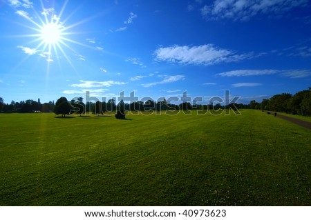 Blue sky, green grass and shining sun in Hyde park, London, UK - stock photo