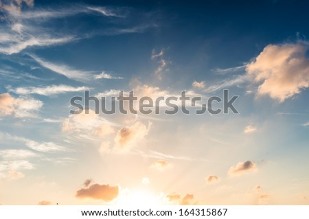 Blue sky in sunset - stock photo