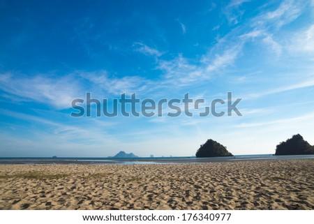 Blue sky on the beach at Andaman sea - stock photo