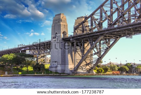 Blue sky over Sydney Harbour Bridge. - stock photo