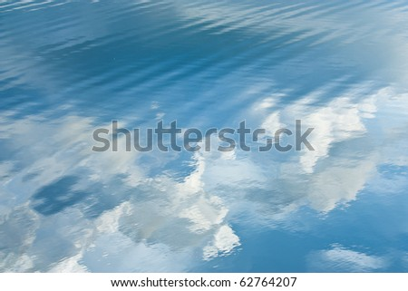 Blue Sky Ripple on The Lake Surface - stock photo