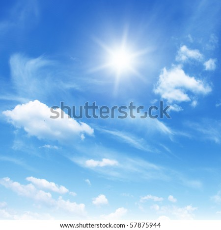 Blue sky,white clouds and sun. - stock photo