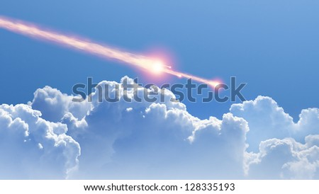 Blue sky, white clouds, asteroid, meteorite impact - stock photo