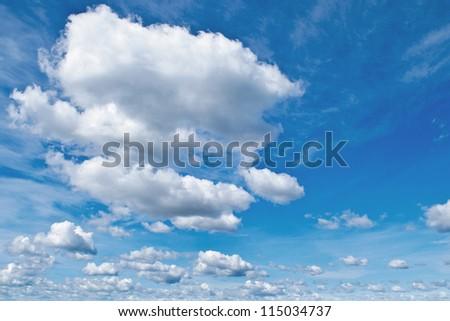 blue sky with cloud. a city with tall buildings. Kiev. Ukraine - stock photo