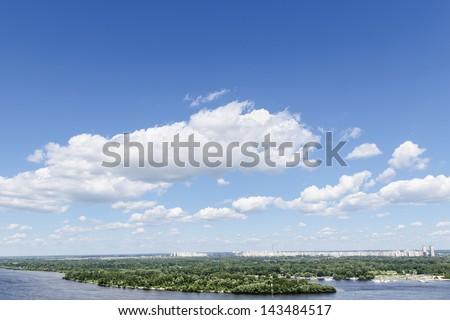 blue sky with cloud and wide river. Kiev. Ukraine - stock photo