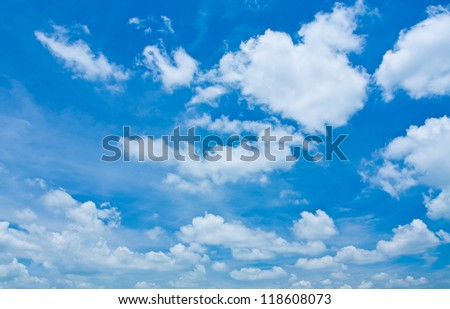 blue sky with cloud closeup as background - stock photo