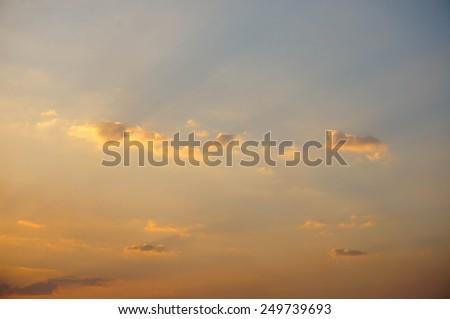 blue sky with cloud closeup  with sun set - stock photo