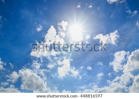 Blue sky with clouds and sun  beautiful - stock photo