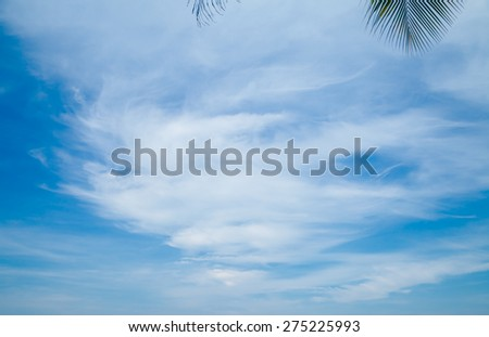 Blue sky with clouds background - stock photo
