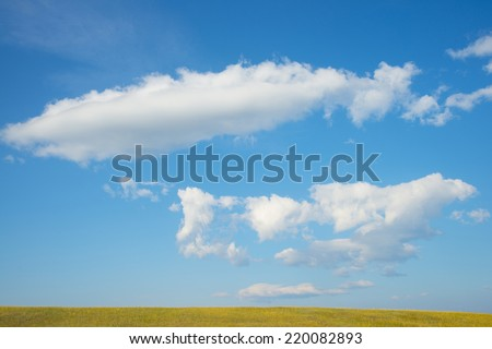 Blue sky with clouds background Empty nature backdrop No people Windy weather - stock photo