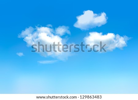 Blue sky with clouds. Raster version of vector. - stock photo