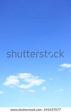Blue sky with clouds with big space for text - stock photo