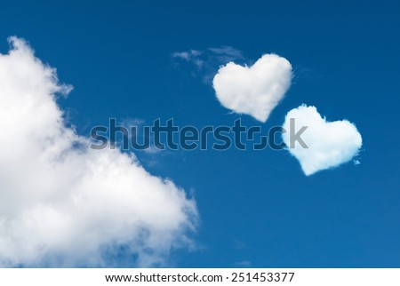 blue sky with hearts shape clouds. Love concept  - stock photo