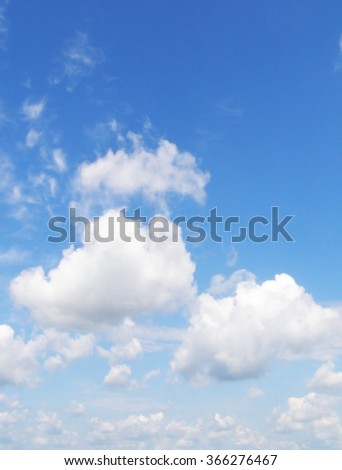 blue sky with light big clouds - stock photo