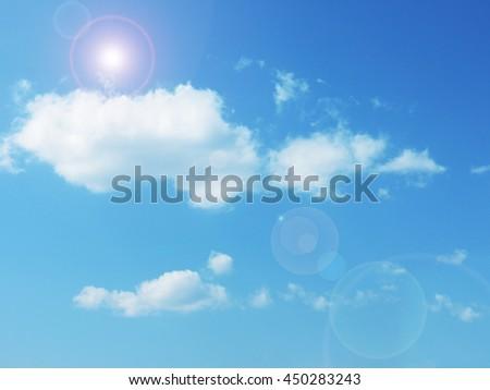 blue sky with sun - stock photo