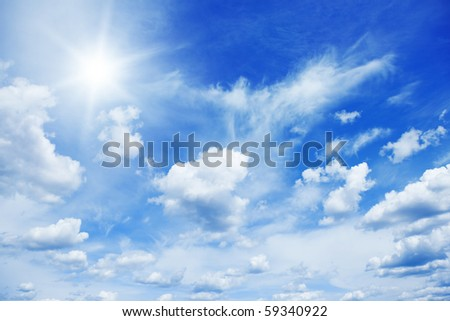 Blue sky with sun. - stock photo