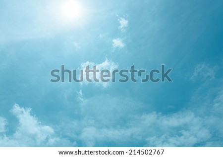 Blue sky with sun and cloud - stock photo