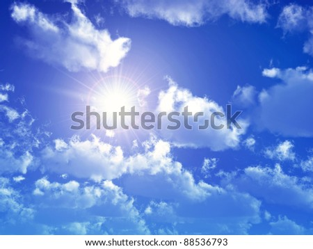 Blue Sky with Sun and Clouds Computer generated 3D illustration - stock photo