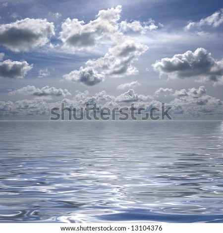 blue sky with water reflexion - stock photo