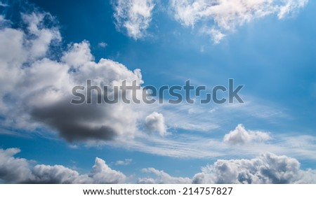 Blue sky with white clouds.  - stock photo