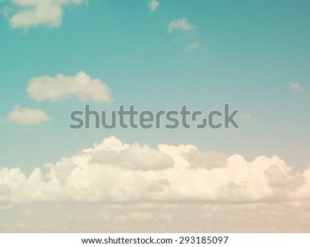Blue sky with white clouds. Grungy style - stock photo