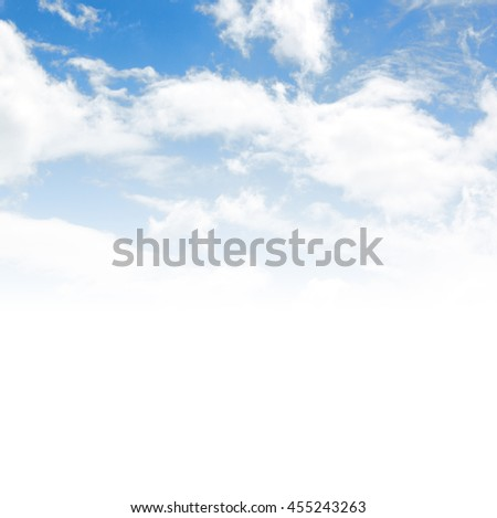 blue sky with white fluffy clouds. abstract nature background - stock photo