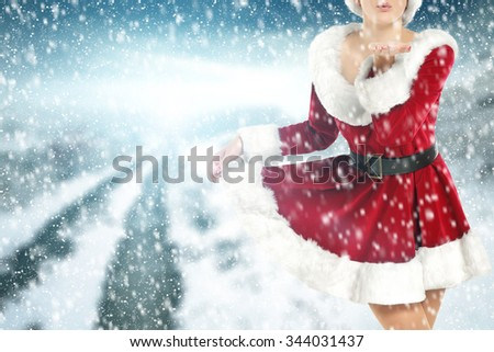 blue sky woman and red dress  - stock photo