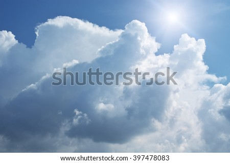 Blue skylight and fluffy cloud. Composition of nature. - stock photo